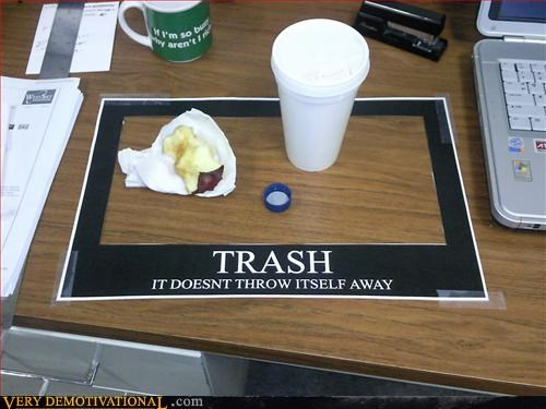 homemade poster office pranks Pure Awesome trash - 2864534528