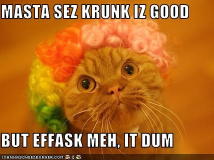 Masta Sez Krunk Iz Good But Effask Meh It Dum Cheezburger Funny