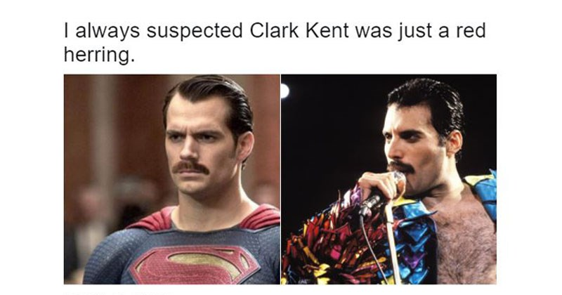 Collection of funny Superman mustache twitter memes.