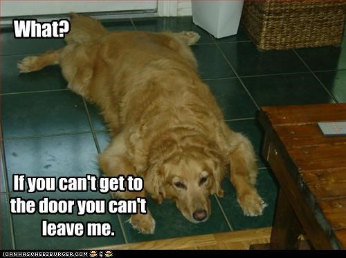 What? If you can't get to the door you can't leave me.