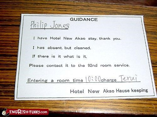 absent,clean,cleaning,hotel,housekeeping,note,please,room service