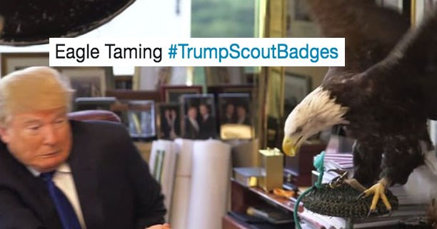 Roundup of Donald Trump #TrumpScoutBadges Twitter memes.