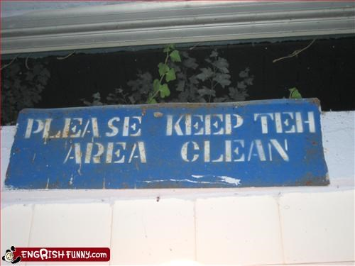 Area clean g rated keep signs
