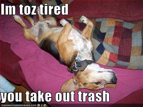 Im toz tired  you take out trash