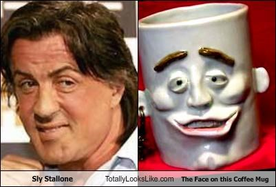 actor,coffee mug,face,Sylvester Stallone