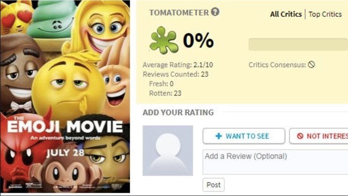 Emoji movie gets an onslaught of brutal reviews.
