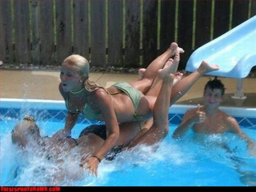 blonde girls Good Times pool summer water slide - 2894646784