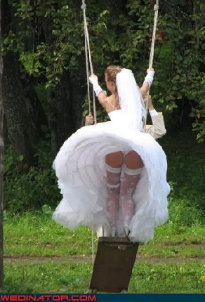 bad idea,Bare Assed,Crazy Brides,crinoline,fashion is my passion,miscellaneous-oops,technical difficulties,upskirt,White Wedding