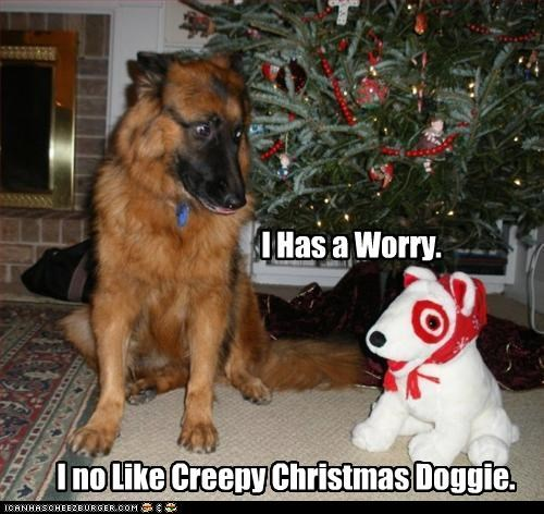 christmas,creepy,german shepherd,stuffed animal,worrying