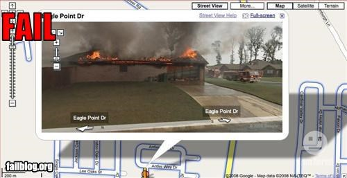 fire,google maps,g rated,house,street view