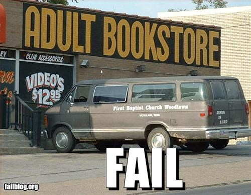 adult novelty store,books,church,reading,van