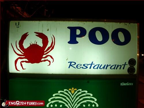 crab,g rated,poo,restaurant,signs