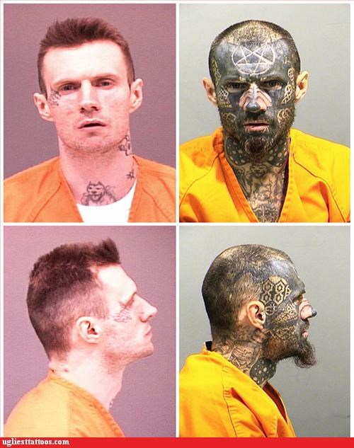 face tats,mug shots,prison tats,white supremacy