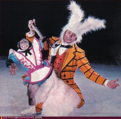 bunny suit costume ice skating monkey wtf - 2907741696