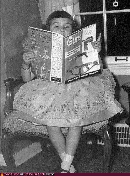 guns,little girl,magazine,old timey,wtf