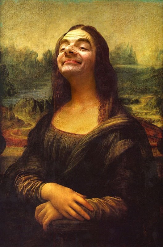 a photo of mr. bean as the face of mona lisa painting very famous - cover for a couple of famous paintings that has his face blending into them.