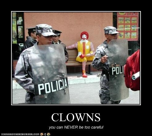 clowns,creepy,police,Ronald McDonald,scary