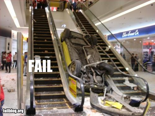 accident,cars,crash,escalator,g rated,mall
