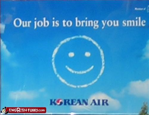 airline,bring,g rated,korea,signs,smile