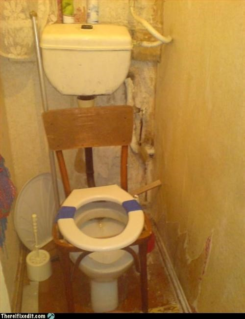 cobbled together makeshift toilet wood beams - 2927457280