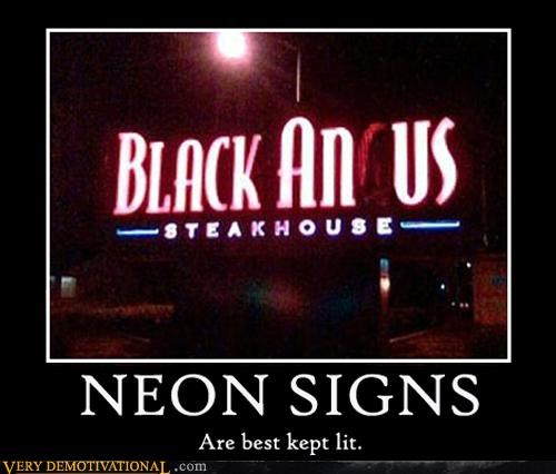 angus,electrical problem,hilarious,neon sign,restaurant