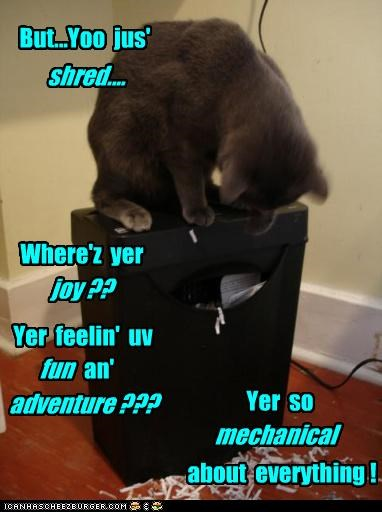But...Yoo jus' shred.... Where'z yer joy ?? Yer feelin' uv fun an' adventure ??? Yer so mechanical about everything !