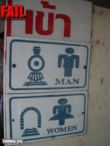 bathroom gender signs train tunnel - 2937044992