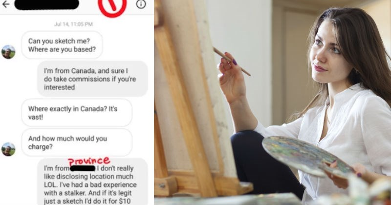 Creepy dude asks artist to draw sketch of him, and things get weird real quick.