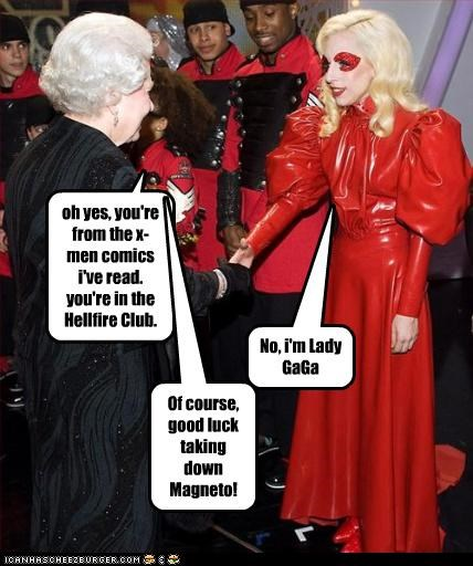comic books lady gaga Magneto Music Queen Elizabeth II queens singer x men - 2938397696