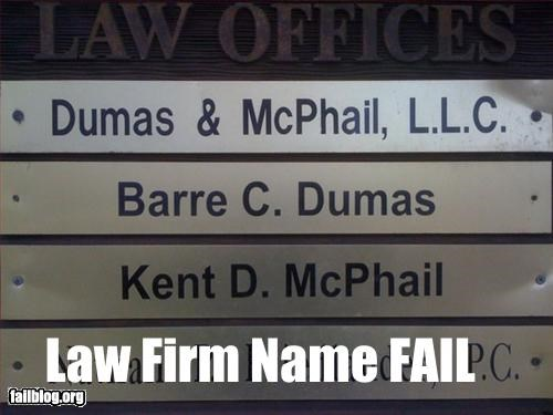 dumbass,g rated,law firm,names,signs
