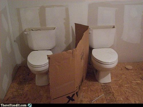 cardboard,no privacy,public bathroom,toilet