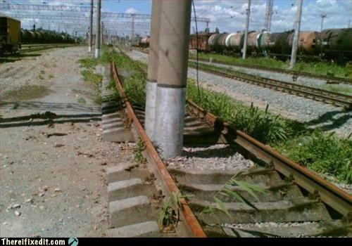 bad idea,emergency stop,train,utility pole