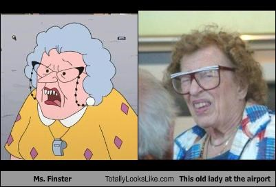 airport animation cartoons disney ms-finster old lady recess - 2946532352