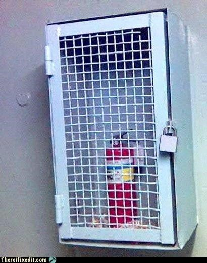 bad idea,cabinet,fire extinguisher,lock