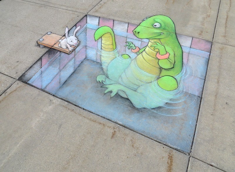 a very cute photo of a chalk drawn squirel reading a newspaper holding a balloon - cover for a list of drawings by david zinn