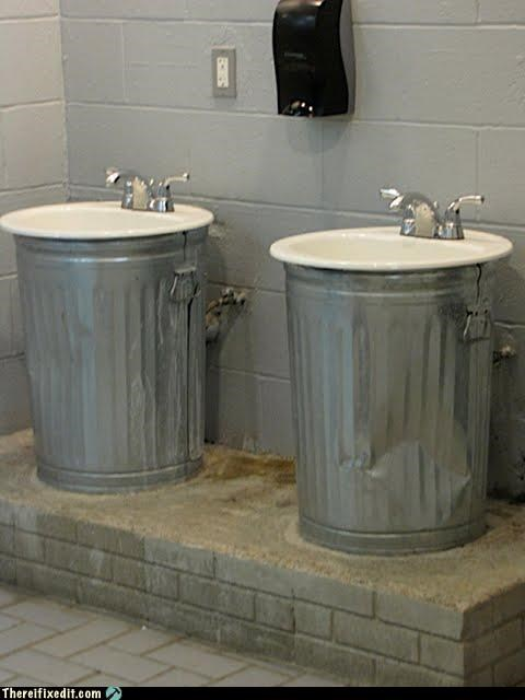 bathroom doesnt-work-like-that recycling-is-good-right sink trash can - 2950766336