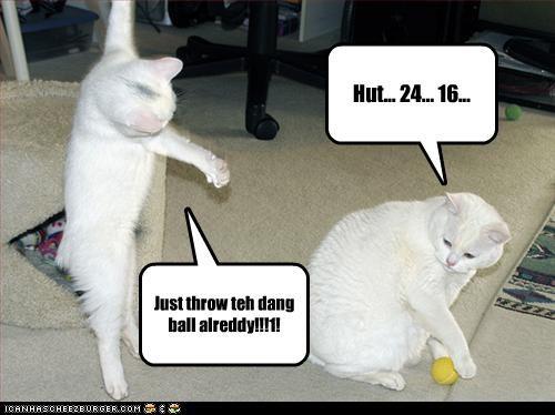 Hut... 24... 16... Just throw teh dang ball alreddy!!!1!