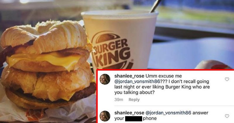 Guy gets exposed for cheating on Burger King's Instagram page.