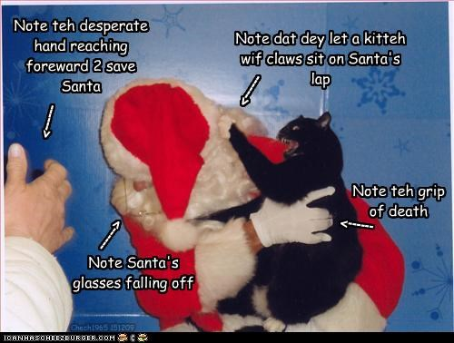 No capshun necessary. Chech1965 151209 Note dat dey let a kitteh wif claws sit on Santa's lap Note teh desperate hand reaching foreward 2 save Santa Note Santa's glasses falling off ------> ------> ------> Note teh grip of death ------>