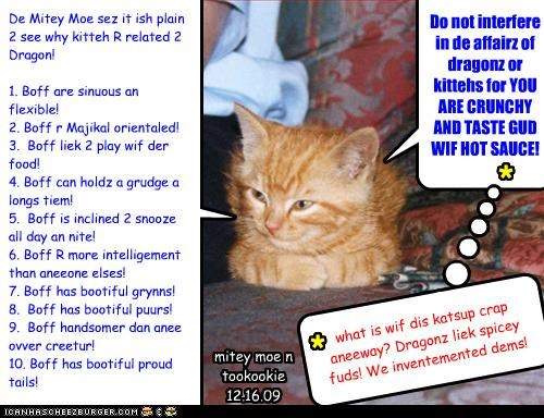 Do not interfere in de affairz of dragonz or kittehs for YOU ARE CRUNCHY AND TASTE GUD WIF HOT SAUCE! * what is wif dis katsup crap aneeway? Dragonz liek spicey fuds! We inventemented dems! * De Mitey Moe sez it ish plain 2 see why kitteh R related 2 Dragon! 1. Boff are sinuous an flexible! 2. Boff r Majikal orientaled! 3. Boff liek 2 play wif der food! 4. Boff can holdz a grudge a longs tiem! 5. Boff is inclined 2 snooze all day an nite! 6. Boff R more intelligement than aneeone elses! 7.