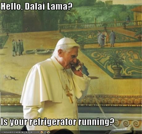catholics Dalai Lama jokes Pope Benedict XVI religion - 2961484288