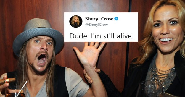 "Funny video and twitter memes about Sheryl Crow / Kid Rock Twitter mix up, she wrote a song called ""Dude, I'm still alive."""