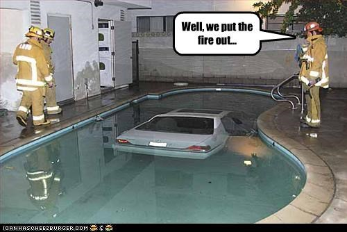 cars,crash,firefighters,pool,swimming