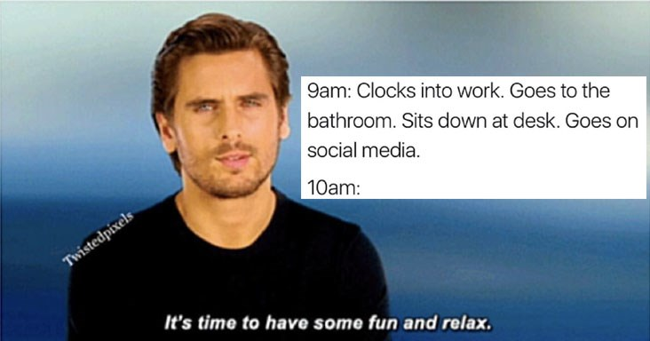 Collection of random and funny memes about work, kardashians, scott disick, lady gaga, game of therones, fashion, dating, relationships, women, animals, food, cats.