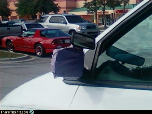 car,duct tape,mod,rearview,side mirror