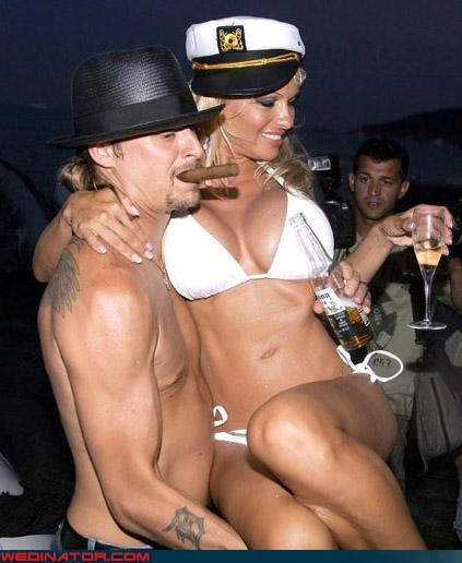 Crazy Brides eww fake boobs fashion is my passion groom Kid Rock Pam Anderson were-in-love wedding at sea white trash wedding - 2966215424