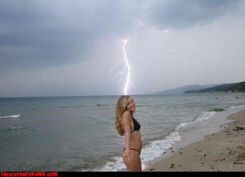 awesome beach bikini lightning nature