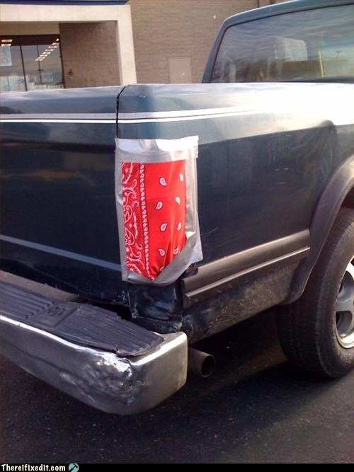 bandana,duct tape,gckang,tail light,truck
