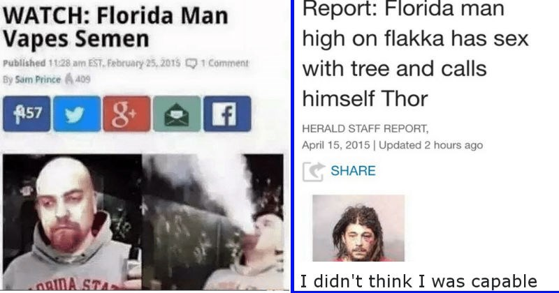 "All the times that ""Florida Man"" dominated news headlines with pure crazy kinds of crime."