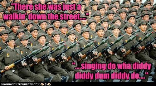 army march North Korea singing soldiers - 2978408960